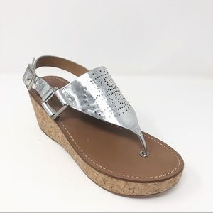 Tory Burch Landon Silver Platform Sandals